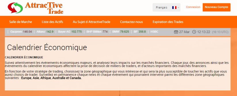 Attractive Trade Calendrier Economique