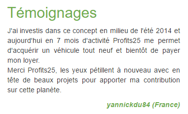 Témoignage Profits25
