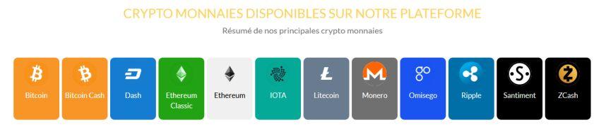 Crypto-monnaies disponibles sur le site CryptoCash24