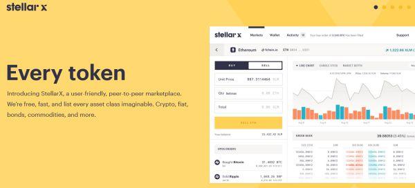 StellarX application de trading pour crypto monnaie, devise, actions...
