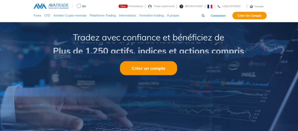 AvaTrade page d'accueil